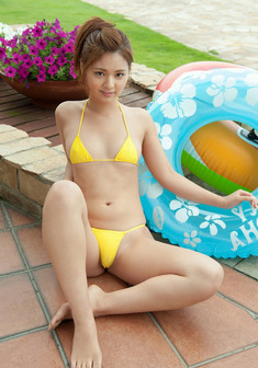 Cute oriental teen girls in swimsuits,..